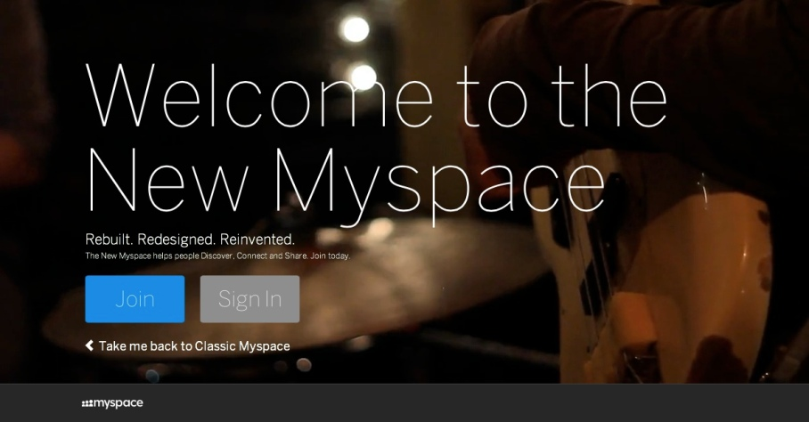(Screen shot of the new Myspace site.)